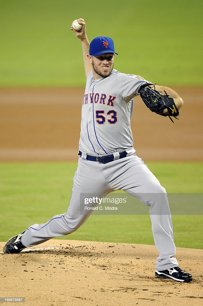 Pitcher Jeremy Hefner #53 of the New York Mets pitches during a MLB game against the Miami Marlins at Marlins Park on October 3, 2012 in Miami, Florida.