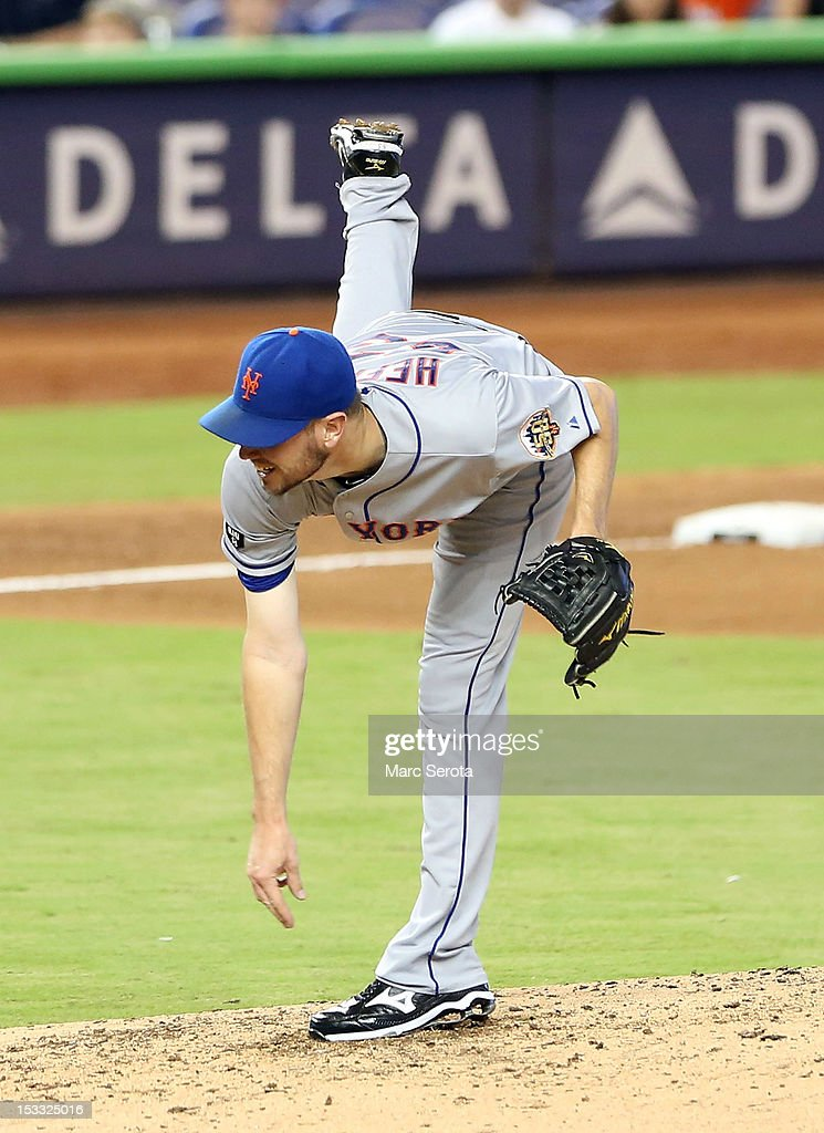 Pitcher Jeremy Hefner #53 of the New York Mets throws against the Miami Marlins at Marlins Park on October 3, 2012 in Miami, Florida.