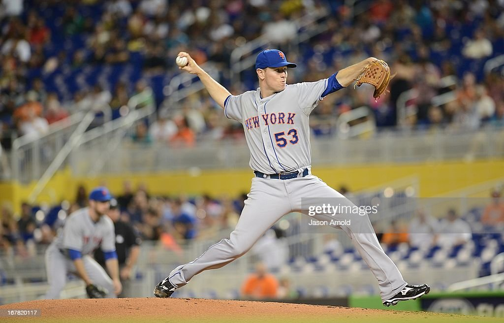 Pitcher Jeremy Hefner #53 of the New York Mets throws against the Miami Marlins at Marlins Park on April 30, 2013 in Miami, Florida.