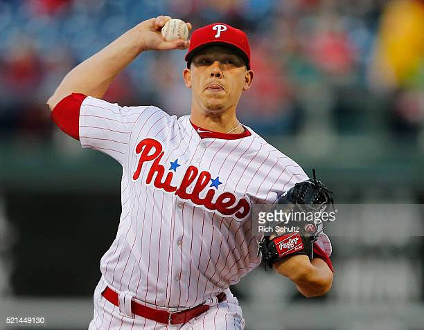 Pitcher Jeremy Hellickson of the Philadelphia Phillies delivers a pitch against the Washington Nationals during the first inning of an MLB game at...