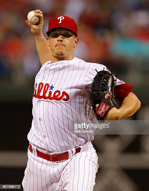 Pitcher Jeremy Hellickson of the Philadelphia Phillies delivers a pitch against the Miami Marlins during the first inning of a game at Citizens Bank...