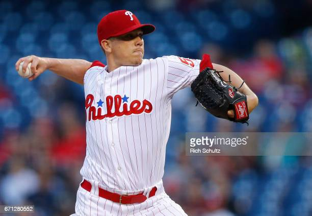 Pitcher Jeremy Hellickson of the Philadelphia Phillies delivers a pitch against the Atlanta Braves during the first inning of a game at Citizens Bank...
