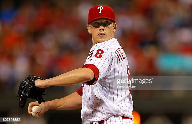 Pitcher Jeremy Hellickson of the Philadelphia Phillies in action against the Miami Marlins during a game at Citizens Bank Park on September 17 2016...
