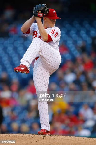 Pitcher Jeremy Hellickson of the Philadelphia Phillies in action against the Atlanta Braves during the first inning of a game at Citizens Bank Park...