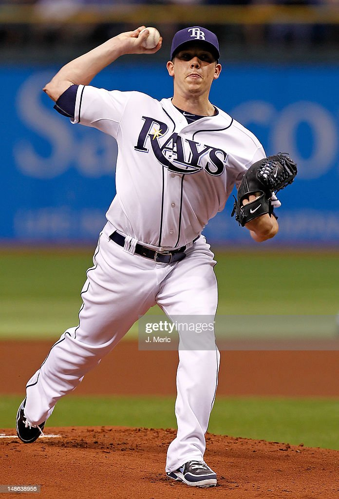 Pitcher <a gi-track='captionPersonalityLinkClicked' href=/galleries/search?phrase=Jeremy+Hellickson&family=editorial&specificpeople=2364859 ng-click='$event.stopPropagation()'>Jeremy Hellickson</a> #58 of the Tampa Bay Rays pitches against the Cleveland Indians during the game at Tropicana Field on July 18, 2012 in St. Petersburg, Florida.