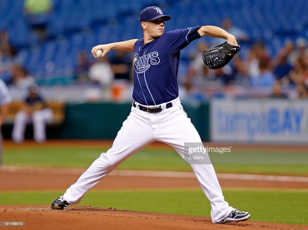 Pitcher <a gi-track='captionPersonalityLinkClicked' href=/galleries/search?phrase=Jeremy+Hellickson&family=editorial&specificpeople=2364859 ng-click='$event.stopPropagation()'>Jeremy Hellickson</a> #58 of the Tampa Bay Rays pitches against the Oakland Athletics during the game at Tropicana Field on August 25, 2012 in St. Petersburg, Florida.