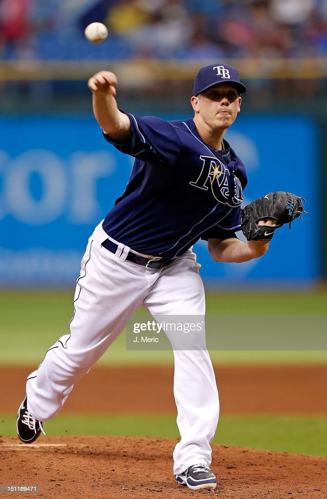 Pitcher Jeremy Hellickson #58 of the Tampa Bay Rays pitches against the Oakland Athletics during the game at Tropicana Field on August 25, 2012 in St. Petersburg, Florida.