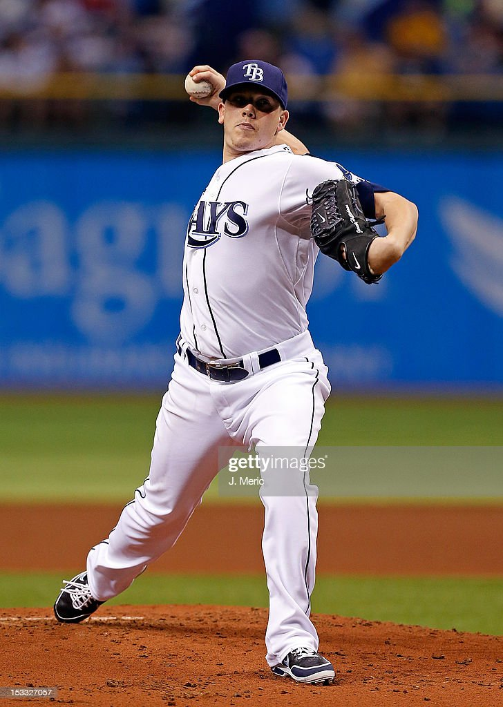 Pitcher <a gi-track='captionPersonalityLinkClicked' href=/galleries/search?phrase=Jeremy+Hellickson&family=editorial&specificpeople=2364859 ng-click='$event.stopPropagation()'>Jeremy Hellickson</a> #58 of the Tampa Bay Rays pitches against the Baltimore Orioles during the game at Tropicana Field on October 3, 2012 in St. Petersburg, Florida.