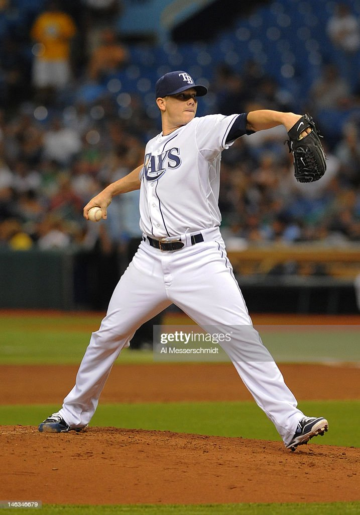 Pitcher <a gi-track='captionPersonalityLinkClicked' href=/galleries/search?phrase=Jeremy+Hellickson&family=editorial&specificpeople=2364859 ng-click='$event.stopPropagation()'>Jeremy Hellickson</a> #58 of the Tampa Bay Rays starts against the New York Mets June 14, 2012 at Tropicana Field in St. Petersburg, Florida.