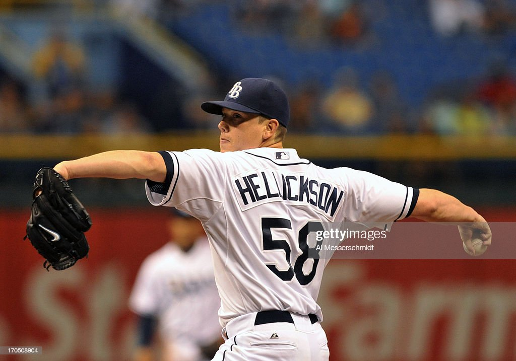 Pitcher <a gi-track='captionPersonalityLinkClicked' href=/galleries/search?phrase=Jeremy+Hellickson&family=editorial&specificpeople=2364859 ng-click='$event.stopPropagation()'>Jeremy Hellickson</a> #58 of the Tampa Bay Rays starts against the Kansas City Royals June 13, 2013 at Tropicana Field in St. Petersburg, Florida.