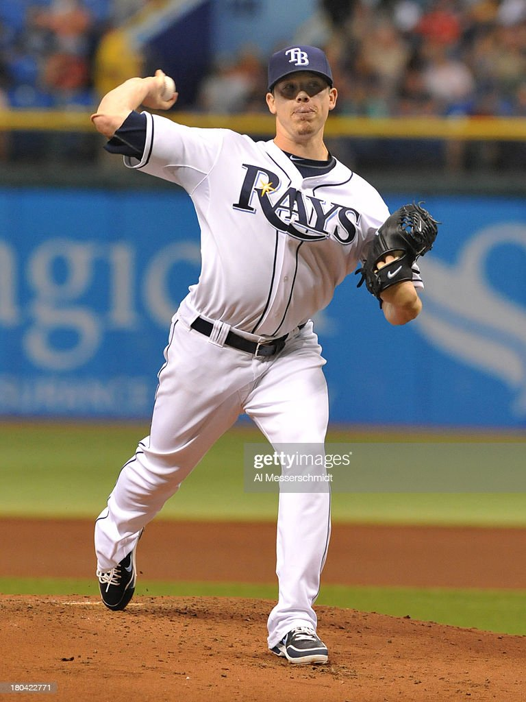 Pitcher Jeremy Hellickson #58 of the Tampa Bay Rays starts against the Boston Red Sox September 12, 2013 at Tropicana Field in St. Petersburg, Florida.