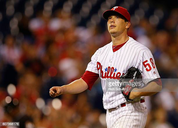 Pitcher Jeremy Hellickson walks off the mound after the eighth inning against the Miami Marlins during a game at Citizens Bank Park on September 17...