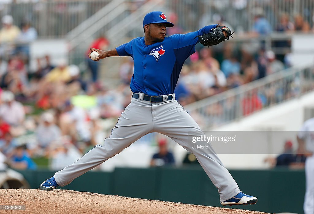 Pitcher Jeremy Jeffress #33 of the Toronto Blue Jays pitches against the Minnesota Twins during a Grapefruit League Spring Training Game at Hammond Stadium on March 24, 2013 in Fort Myers, Florida.