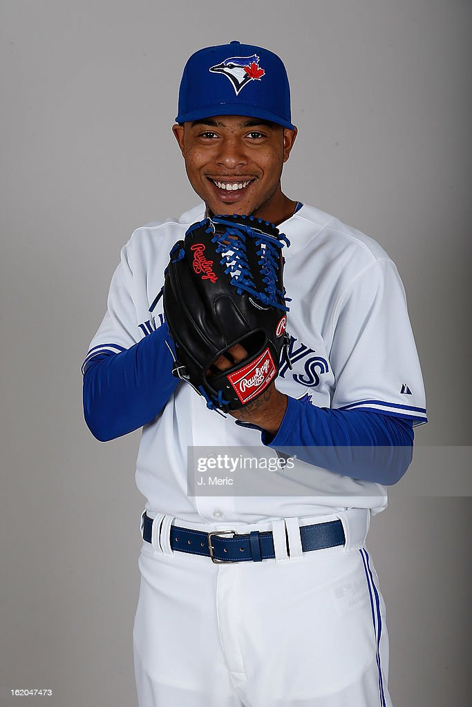 Pitcher Jeremy Jeffress #33 of the Toronto Blue Jays poses for a photo during photo day at Florida Auto Exchange Stadium on February 18, 2013 in Dunedin, Florida.