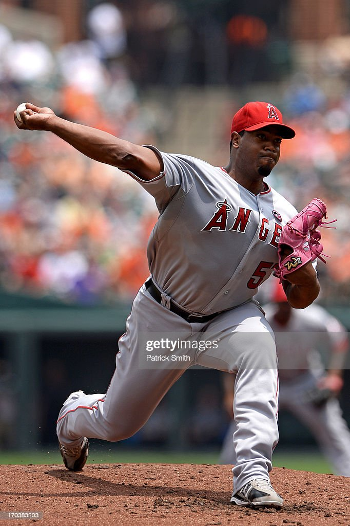 Pitcher <a gi-track='captionPersonalityLinkClicked' href=/galleries/search?phrase=Jerome+Williams+-+Baseball+Player&family=editorial&specificpeople=15260950 ng-click='$event.stopPropagation()'>Jerome Williams</a> #57 of the Los Angeles Angels of Anaheim works the second inning against the Baltimore Orioles at Oriole Park at Camden Yards on June 12, 2013 in Baltimore, Maryland.