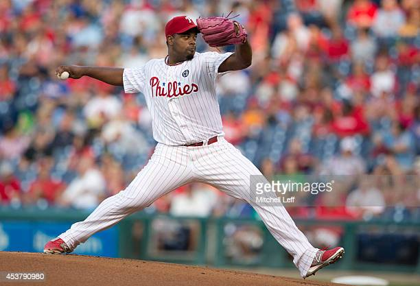 Pitcher Jerome Williams of the Philadelphia Phillies throws a pitch in the top of the first inning against the Seattle Mariners on August 18 2014 at...