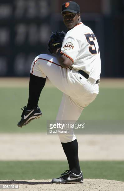 Pitcher Jerome Williams of the San Francisco Giants pitches during the game against the Florida Marlins at SBC Park on April 29 2004 in San Francisco...
