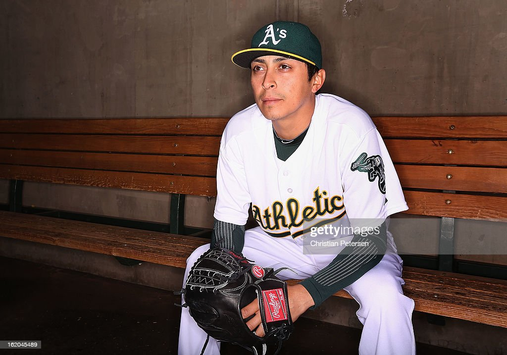 Pitcher <a gi-track='captionPersonalityLinkClicked' href=/galleries/search?phrase=Jesse+Chavez&family=editorial&specificpeople=4175363 ng-click='$event.stopPropagation()'>Jesse Chavez</a> #60 of the Oakland Athletics poses for a portrait during the spring training photo day at Phoenix Municipal Stadium on February 18, 2013 in Phoenix, Arizona.