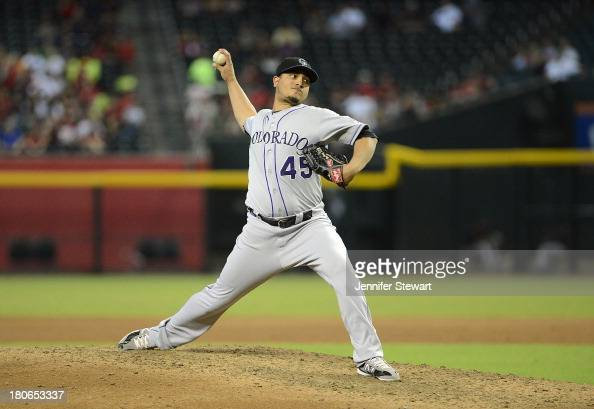 Pitcher Jhoulys Chacin of the Colorado Rockies pitches against the Arizona Diamondbacks at Chase Field on September 15 2013 in Phoenix Arizona