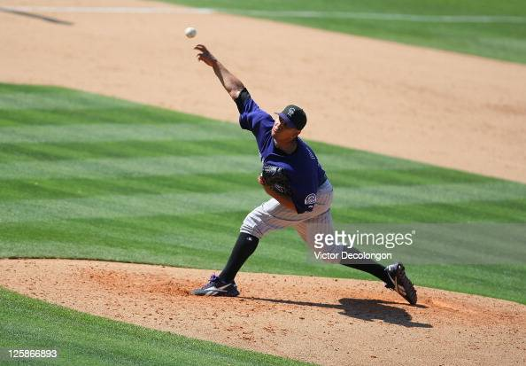 Pitcher Jhoulys Chacin of the Colorado Rockies pitches in the first inning during the MLB game against the Los Angeles Dodgers at Dodger Stadium on...