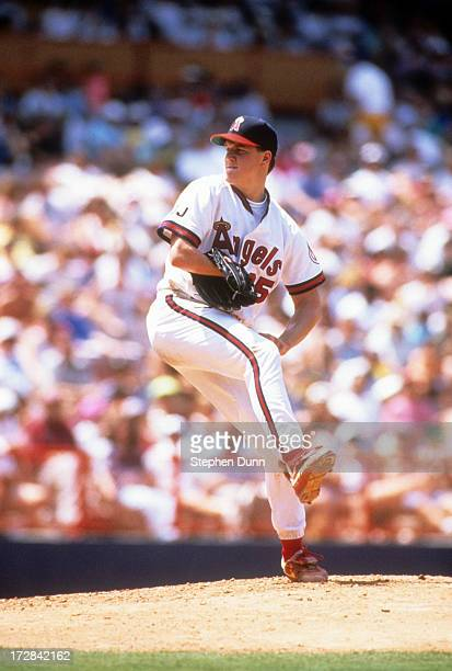 Pitcher Jim Abbott of the California Angels readies to throw a pitch during an MLB game against the Cleveland Indians on May 31 1992 at Anaheim...