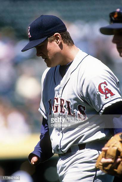 Pitcher Jim Abbott of the California Angels walks on the field during an MLB game against the Oakland Athletics on May 2 1996 at the Oakland Coliseum...