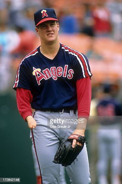 Pitcher Jim Abbott of the California Angels warmsup before an MLB game against the Oakland Athletics circa 1989 at the Oakland Coliseum in Oakland...