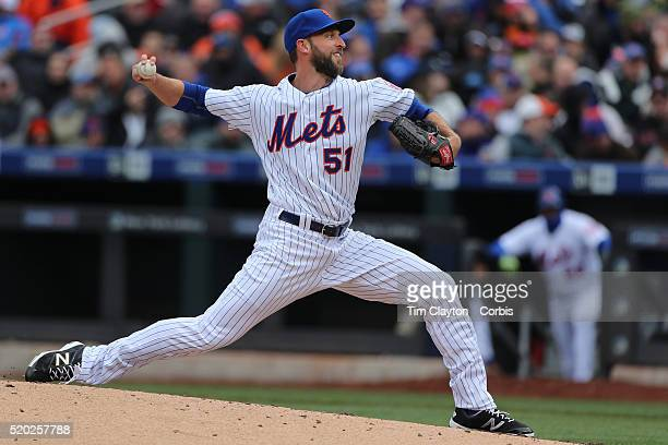 Pitcher Jim Henderson New York Mets pitching during the New York Mets Vs Philadelphia Phillies Mets home opener at Citi Field on April 8 2016 in New...