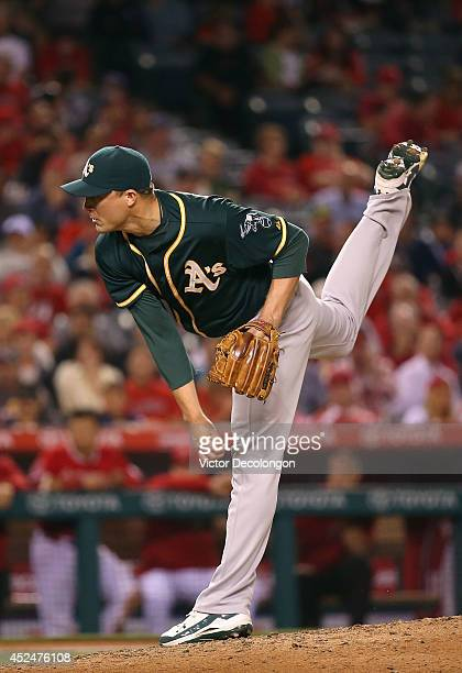 Pitcher Jim Johnson of the Oakland Athletics pitches in the eighth inning during the MLB game against the Los Angeles Angels of Anaheim at Angel...