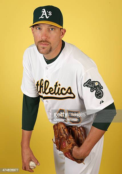 Pitcher Jim Johnson of the Oakland Athletics poses for a portrait during the spring training photo day at Phoenix Municipal Stadium on February 22...
