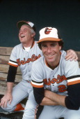 Pitcher Jim Palmer and manager Earl Weaver of the Baltimore Orioles laughing in this photo before a Major League Baseball game circa 1978 Palmer...