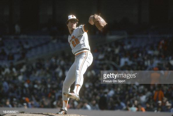 Pitcher Jim Palmer of the Baltimore Orioles pitches against the New York Yankees during an Major League Baseball game circa 1978 at Yankee Stadium in...