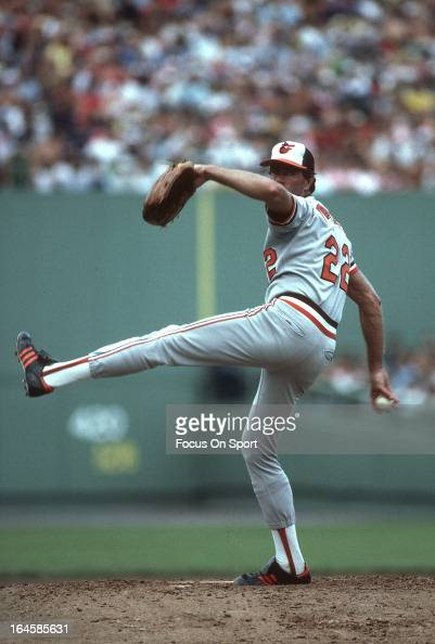 Pitcher Jim Palmer of the Baltimore Orioles pitches against the Boston Red Sox during an Major League Baseball game circa 1978 at Fenway Park in...