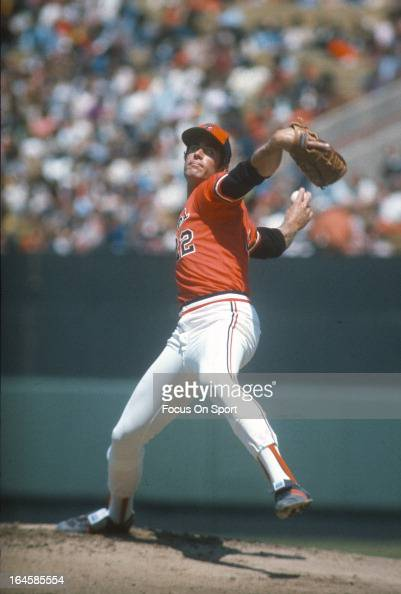 Pitcher Jim Palmer of the Baltimore Orioles pitches during an Major League Baseball game circa 1976 at Memorial Stadium in Baltimore Maryland Palmer...