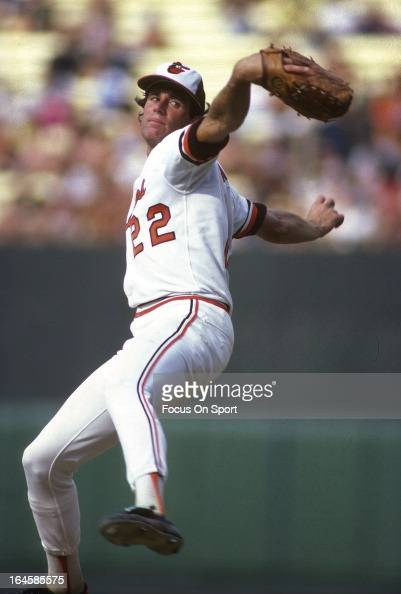 Pitcher Jim Palmer of the Baltimore Orioles pitches during an Major League Baseball game circa 1977 at Memorial Stadium in Baltimore Maryland Palmer...