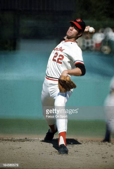 Pitcher Jim Palmer of the Baltimore Orioles pitches during an Major League Baseball game circa 1970 at Memorial Stadium in Baltimore Maryland Palmer...
