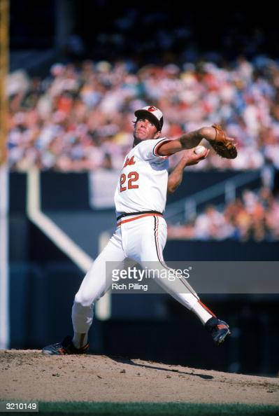 Pitcher Jim Palmer of the Baltimore Orioles winds up a pitch during a game circa 1975 1982