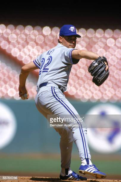 Pitcher Jimmy Key of the Toronto Blue Jays pitches during a game in September 1991 Key played for the Blue Jays from 198492