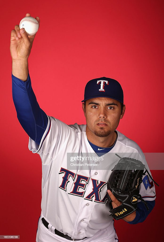 Pitcher Joakim Soria #28 of the Texas Rangers poses for a portrait during spring training photo day at Surprise Stadium on February 20, 2013 in Surprise, Arizona.