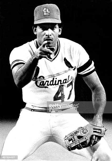 Pitcher Joaquin Andujar of the St Louis Cardinals points to home plate during the 1st inning against the Milwaukee Brewers during Game 7 of the 1982...