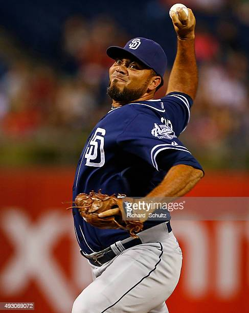 Pitcher Joaquin Benoit of the San Diego Padres delivers a pitch against the Philadelphia Phillies during a MLB game at Citizens Bank Park on August...