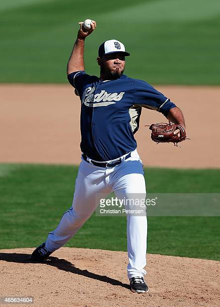 Pitcher Joaquin Benoit of the San Diego Padres pitches against the Colorado Rockies during the spring training game at Peoria Stadium on March 8 2015...