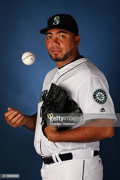 Pitcher Joaquin Benoit of the Seattle Mariners poses for a portrait during spring training photo day at Peoria Stadium on February 27 2016 in Peoria...