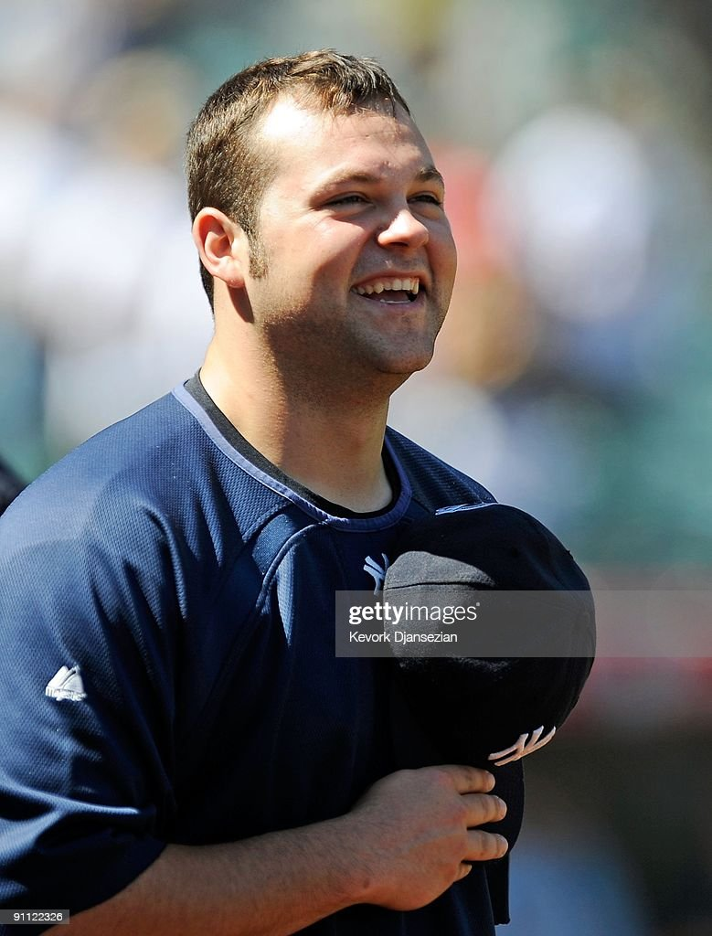 Pitcher Joba Chamberlain of the New York Yankees before the start of the baseball game against the Los Angeles Angels of Anaheim at Angel Stadium on...