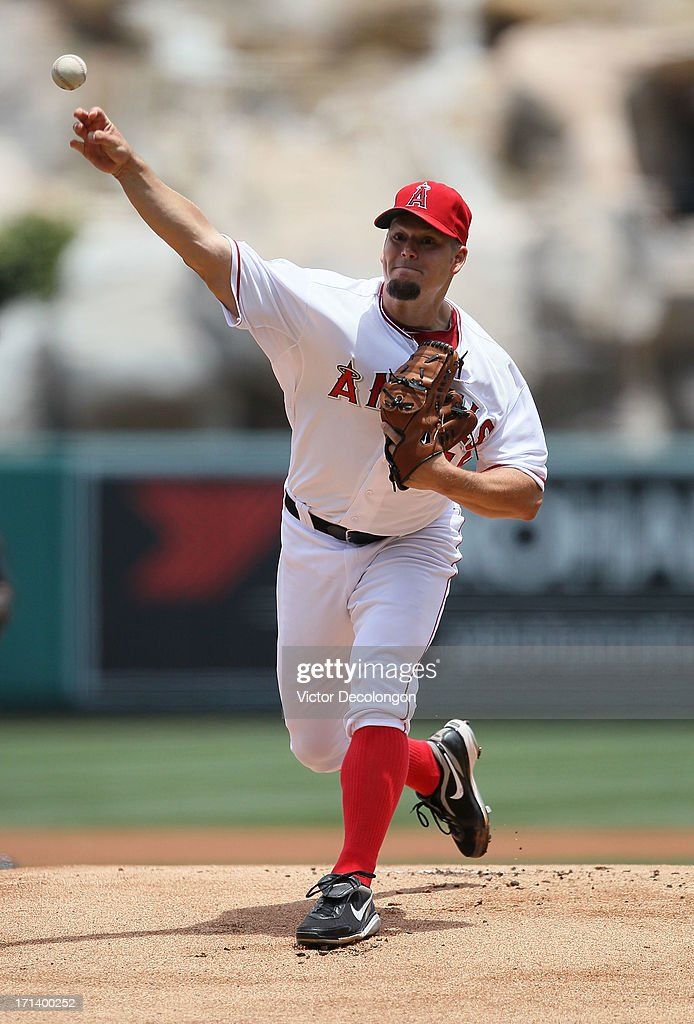 Pitcher Joe Blanton #55 of the Los Angeles Angels of Anaheim pitches in the first inning during the MLB game against the Pittsburgh Pirates at Angel Stadium of Anaheim on June 23, 2013 in Anaheim, California. The Pirates defeated the Angels 10-9 in ten innings.