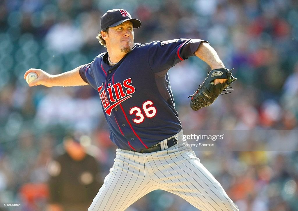 Pitcher <a gi-track='captionPersonalityLinkClicked' href=/galleries/search?phrase=Joe+Nathan&family=editorial&specificpeople=215405 ng-click='$event.stopPropagation()'>Joe Nathan</a> #36 of the Minnesota Twins on the mound against the Detroit Tigers during the game on October 1, 2009 at Comerica Park in Detroit, Michigan.