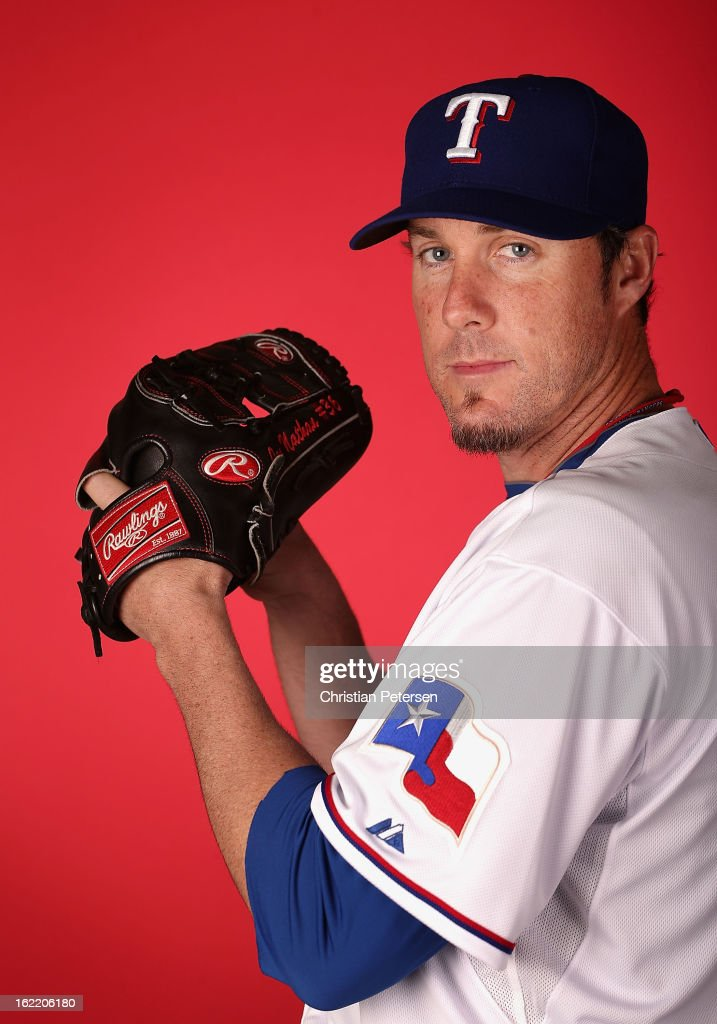 Pitcher Joe Nathan #36 of the Texas Rangers poses for a portrait during spring training photo day at Surprise Stadium on February 20, 2013 in Surprise, Arizona.