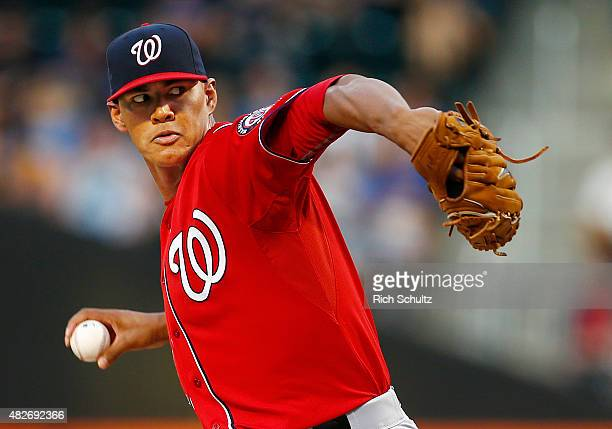 Pitcher Joe Ross of the Washington Nationals delivers a pitch against the New York Mets during the first inning on August 1 2015 at Citi Field in the...