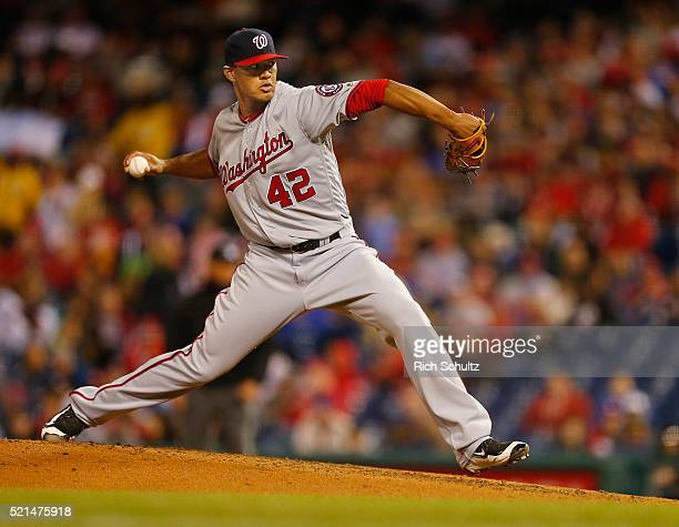 Pitcher Joe Ross of the Washington Nationals delivers a pitch during the fourth inning against the Philadelphia Phillies in an MLB game at Citizens...