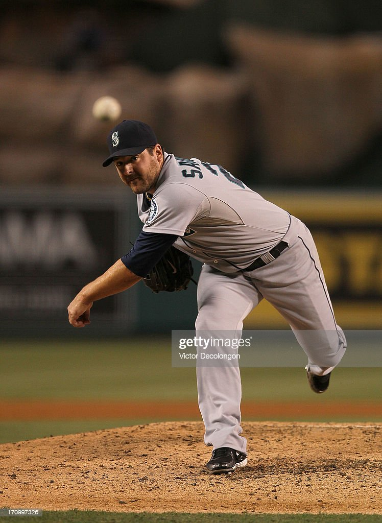 Pitcher <a gi-track='captionPersonalityLinkClicked' href=/galleries/search?phrase=Joe+Saunders&family=editorial&specificpeople=835979 ng-click='$event.stopPropagation()'>Joe Saunders</a> #23 of the Seattle Mariners pitches during the MLB game against the Los Angeles Angels of Anaheim at Angel Stadium of Anaheim on June 19, 2013 in Anaheim, California. The Angels defeated the Mariners 1-0.